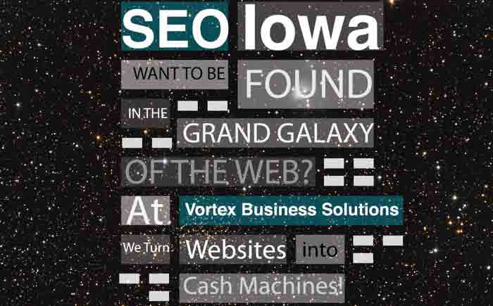SEO Iowa social media graphic Vortex Business Solutions